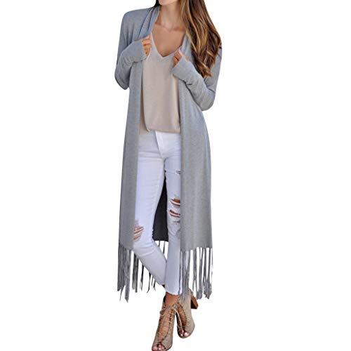 TAMALLU Damen Mantel Farbige Strickjacke Einfarbig Eleganter Pullover(Grau,XL)