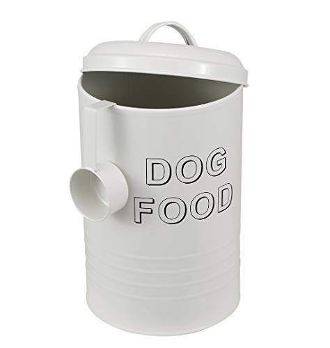 Brabtod Circular Design Pet Food Treat Canister Dog Treat Jar and Serving Scoop - Cookie Jars with Lids -Dog-white2