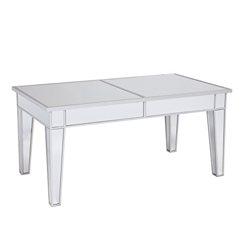 Southern Enterprises Mirage Cocktail Table - Mirror Finish w/Silver Trim - Glam Style