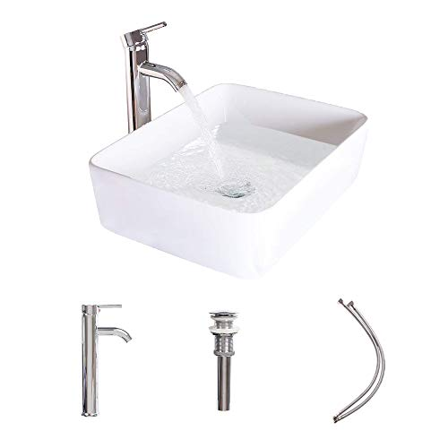 LUCKWIND Bathroom Sink Ceramic Vanity Top - White Porcelain Pedestal Lavatory Vanity Basin Bowl Chrome Brass Faucet P-trap Pop Up Drain Combo Single Hole Side Vanity Top Rectangular (18.5'10.5' Wall