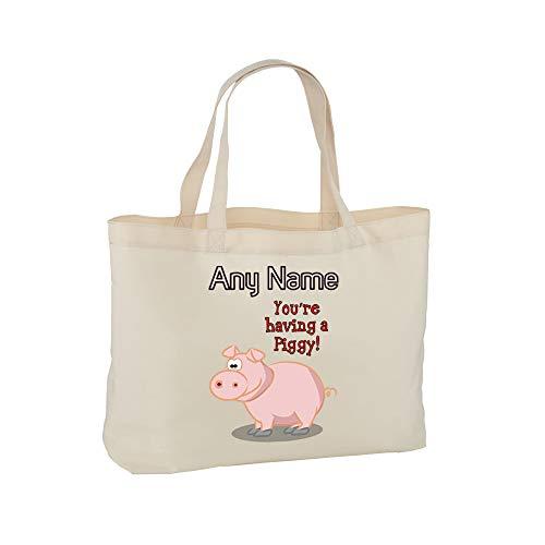 """UNIGIFT - Borsa Regalo Personalizzabile con Scritta in Lingua Inglese You Are Having a Piggy Bag (Scritta in Lingua Inglese), con Scritta in Lingua Inglese """"You Are Having a Piggy Bag"""" Naturale"""