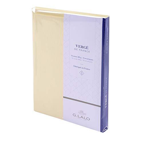 Lalo 25116L Karten Set Vergé de France (25% Hadern mit 10 Karten Vergé Papier 300 g, 107 x 152 mm, mit geradem Schnitt, 10 Umschläge, weiß gefüttert, 114 x 162 mm, elfenbein, 1 Pack)