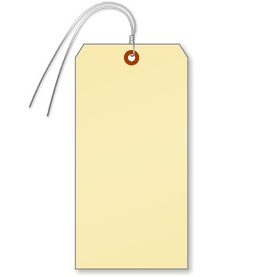 SmartSign Large Manila Shipping Tags with Wire Attached | 4' x 8', Pack of 50