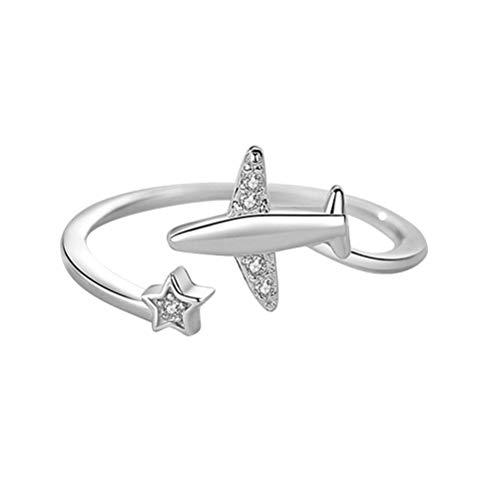 AILOS Par de anillos, anillo de moda, anillo de estrella, anillo de compromiso, anillo de estrella, anillo de avión, a la moda, ajustable, anillo para el dedo