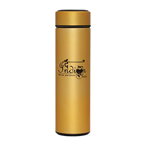 Double Wall Vacuum Insulated Travel Mug Stainless Steel Loose Leaf Tea Infuser With Strainer-Coffee Tumbler- Leak-Proof Cup Lid Portable Thermal Water Bottle (500Ml Matt Gold)