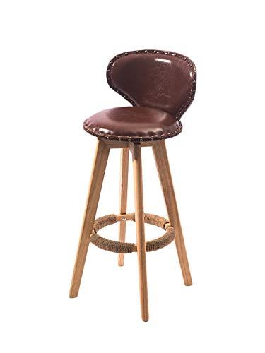 Barstoolri barkruk met rugleuning, ergonomische zitting, sterk houten frame, antislip, hoge stoel voor huis, keuken, ontbijt 63cm Blue