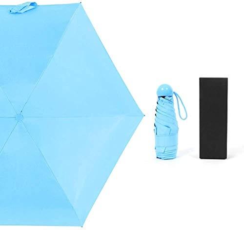 Paraguas Cápsula Paraguas Mini Sombrilla Sunshine Ultraligero Protección Uv Bolsillo Pequeño Paraguas Plegable Lluvia Plegable Doble Uso Mujer-azul Hermoso Paraguas Flexible Duradera Antideslizante