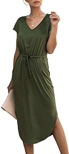Longwu Women's Casual V-Neck Sleeveless/Short Sleeve Side Split Drawstring Waist Midi Length Vest Dress with Pocket
