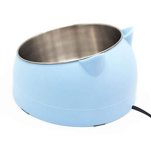 GWOKWAI Stainless Steel Pet Bowls,Heated Cat Water Bowl Cute Slanted Dog Heating Bowl for Dogs Cats,Chickens Ducks (Constant Temperature-Blue)