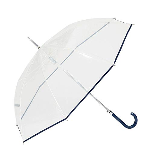 GOTTA Paraguas Transparente Largo de Mujer. Antiviento y automático. Puño Curvo de plástico. - Azul