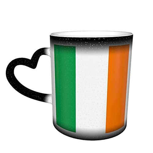 Taza de cerámica Bandera de Irlanda Taza que cambia de color sensible al calor en el cielo Tazas de café Regalos personalizados