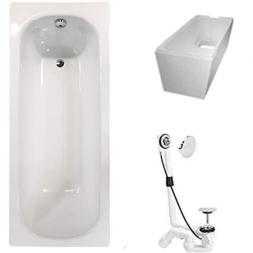 KALDEWEI Badewanne Stahl KOMPLETT SET 170 x 75cm + Wannenträger + Ablaufgarnitur weiß