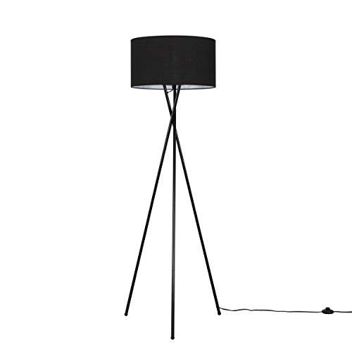 Modern Gloss Black Metal Tripod Floor Lamp with a Black Cylinder Shade