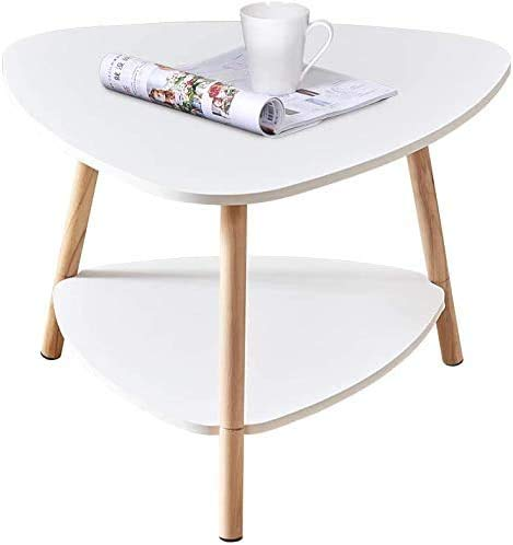 Oval Small Sofa Side Table, with a Storage Shelf Layer 2, for a Small Corner of The Living Room Coffee Table Wooden,White