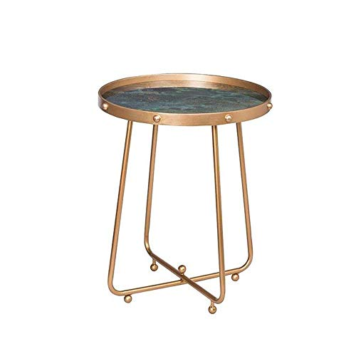Mesa auxiliar para sofá, mesa decorativa con bandeja redonda de metal, mesa auxiliar de vidrio templado, mesa auxiliar de cóctel, 19.6819.6823.03, mesa de centro verde / dorado Color: dorado, tamaño: