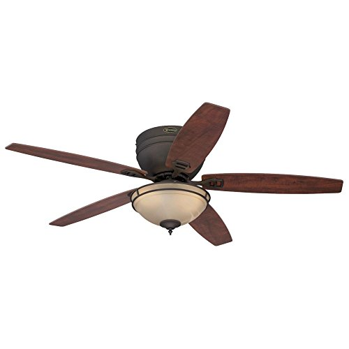 Westinghouse Lighting Carolina 52 Oil Rubbed Bronze; Indoor Fan, Light Kit Amber Alabaster Bowl, Bulbs