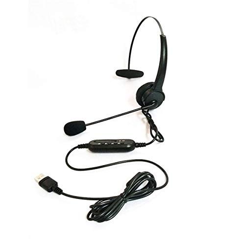 Auriculares USB, Auriculares USB con micrófono, Auriculares giratorios Ajustables con cancelación de Ruido, Auriculares para Centro de Llamadas, Auriculares para computadora portátil (Negro)