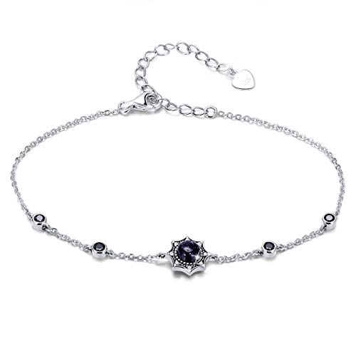 Mother Day Gift- Blue Sandstone Star Charm Bracelet, 925 sterling silver CZ Vintage Mysterious Stars Bangle Jewelry Gift for Women
