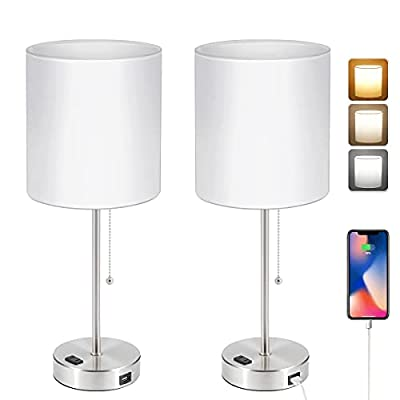 USB Bedside Table Lamp, 2700K-5000K Nightstand Lamp with Pull Chain, Table Lamp Set of 2 with USB Port & AC Outlet, Lamps for Bedrooms Living Room, 2 Bulbs Included, White Shade, 2PK, Nickel