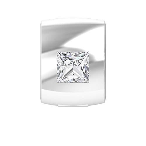 Conjunto antiguo 1/4 ct solitario corte princesa diamante pendiente, oro sólido grabado mujeres cómodo declaración pendientes, 2,5 x 2,5 mm diamante perno regalos 18K Oro blanco, Única pieza