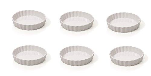 6 Stück Tarte Förmchen/Crème-Brûlée Schälchen Ø 10 cm Keramik, Mini Tarte Quiche Form