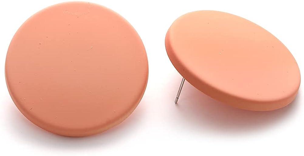 Winssigma Pure Color Geometric Acrylic Earrings Disc Big Round Stud Earrings for Women Girls Jewelry Gift