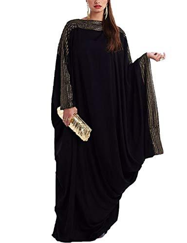 Qianliniuinc Muslimische Gebet Kleid Abaya Dubai - Islamische Kleidung Frauen Maxi Kleider Kaftan Fledermaus Ärmel Elegant (5XL)