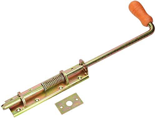 KOTARBAU® Federriegel 380/13mm Breit Gelb für Tore Garagen Pforten mit Holzgriff
