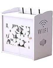 Xyanzi Estante de Pared, Caja De Almacenamiento para Enrutador Cable de Alimentación Toma de Corriente Acabado de Zócalo WiFi Set-Top Box Rack Blanco