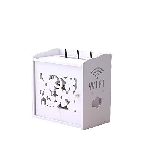 Xyanzi Mensola A Muro, Scatola di Immagazzinaggio per Cavo del Router Cavo di Alimentazione Finitura WiFi Set-Top Box Rack Bianco