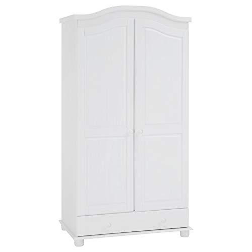 IDIMEX Garderobenschrank Dielenschrank Kleiderschrank Bergen, Kiefer, 2-türig 2-Türen, weiß, im Landhausstil