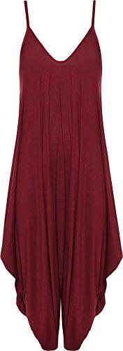 WearAll - Damen Lagenlook Strappy Ausgebeult Harem Jumpsuit Kleid Top Playsuit - Wein - 40-42