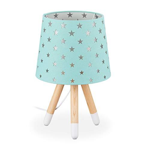 Relaxdays Nachttischlampe Kinder, Tischlampe für Jungen & Mädchen, E14 Fassung, Kinderlampe Sterne, HxD 39 x 25 cm, mint