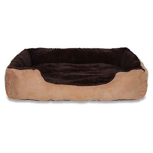 Dibea hondenbed, mand met omkeerbaar kussen, (XL) 90 x 70 cm, braun/beige