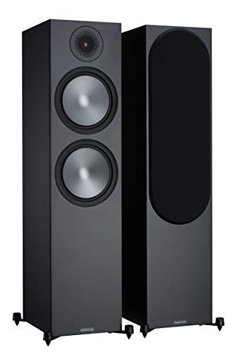 Monitor Audio Bronze 500 6G | Farbe: Schwarz | Standlautsprecher | Paar | Stereo & Heimkino | 2,5-Wege | 8 Ohm | 200 Watt | Magnetische Abdeckung | Bassreflex | Passiv