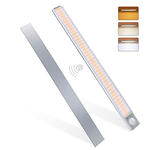 MERTTURM Luce per Armadio 160LED, Lampada Armadio con Sensore Movimento, USB Ricaricabile, 3 Temperature di Colori, Luce LED con Striscia Magnetica Adesiva per Cucina, Corridoi, Garage