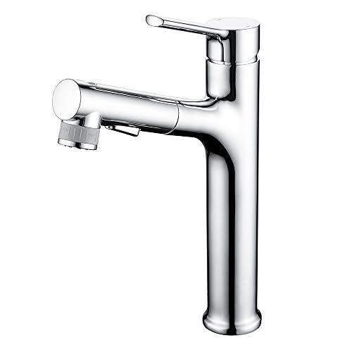 CREA 洗面蛇口 浴室用水栓 立水栓 洗面 洗髪用 蛇口 ホース引き出し式水栓 噴水機能付き シングルレバー混合栓 2wayの吐水式 泡沫水流 シャワー水流 クロムメッキ