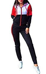 Vinyst Women Skinny with Hoodie Zip Lounge Splicing Sportswear Tracksuit