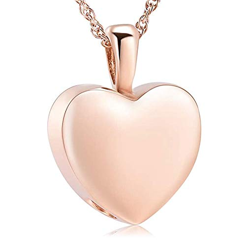 Lifequeen Jewellery Heart Love Plated Rose Gold Urn Necklace for Ashes Cremation Keepsakes