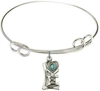RIF Store Rhodium Plate Double Loop Bangle Bracelet with Miraculous Love Charm, 8 in #A-1-5980