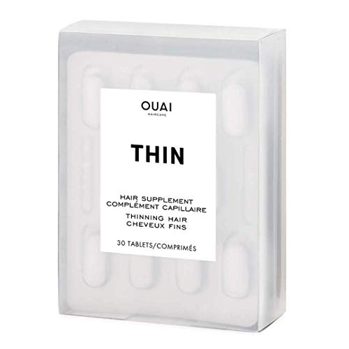 OUAI Hair Supplements for Thinning Hair. Help Restore, Strengthen and Add Shine to Your Hair. Made with Biotin, Silica, Ashwagandha and Amino Acids. Free from Parabens and Sulfates (30 Tablets)