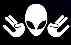 CCI Shocker Alien JDM Decal Vinyl Sticker|Cars Trucks Vans Walls Laptop| White |5.5 x 2.75 in|CCI898