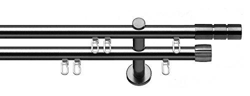 tilldekor Innenlauf Gardinenstange Alicante, 2-Lauf, Edelstahl Optik, Ø 20 mm, 200 cm, inkl. Trägern und Gleitern