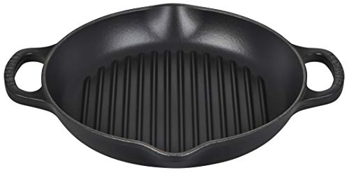 "Le Creuset Enameled Cast Iron Signature Deep Round Grill, 9.75"", Licorice"
