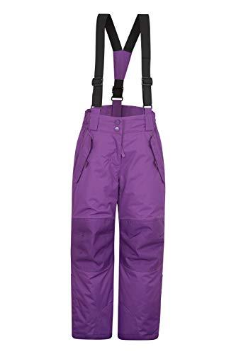 Mountain Warehouse Honey Kinder Schneehose - Schneedicht, Schneegamaschen, Schneeanzug mit Reißverschluss am Knöchel und abnehmbaren Träger Traube 3-4 Jahre