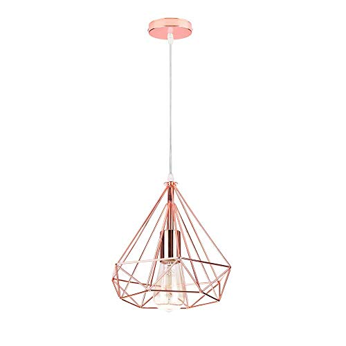 BUNUMO Pantalla de luz Colgante, Elegante Pantalla de lámpara Colgante de Metal con Pantalla de Jaula de Diamantes Luminaria Colgante Moderna para Comedor, Sala de Estar,