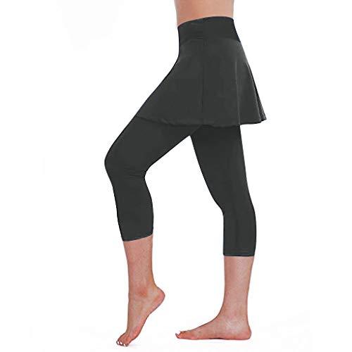 Ulanda-EU Damen Leggings Lauf Skort/Laufhose Hockey Rock Engen Sporthose Gym Yoga Pants Caprihose Leggings mit Rock Tennisrock 2 in 1 Sporthose Yogahose Sport Rock Hosen