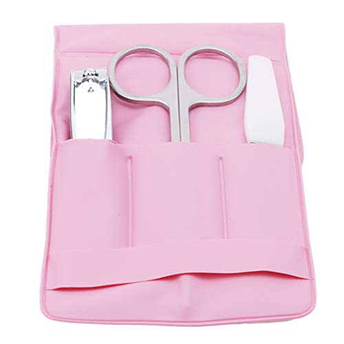 Hengxing 3 Pcs Manucure Pédicure Set Coupe-Ongles Kit En Acier Inoxydable Hygiène Portable Nail Trimming Set Avec Sac, Rose