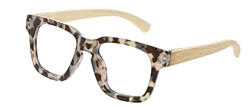 Peepers by PeeperSpecs Women's Coffee Shop Square Reading Sunglasses, Gray Tortoise/Wood-Original Lenses, 1.5