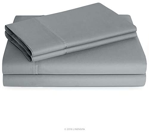 Linenspa 600 Thread Count Ultra Soft, Deep Pocket Cotton Blend Sheet Set – Twin – Stone